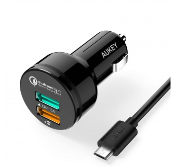 Aukey Dual Port Car Charger with Quick Charge 3.0